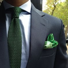 Green knit tie. I like the color combo more than the fabric of the tie