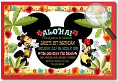Mickey and Minnie Hawaiian Luau Birthday Invitations [DI-354] : Custom Invitations and Announcements for all Occasions, by Delight Invite