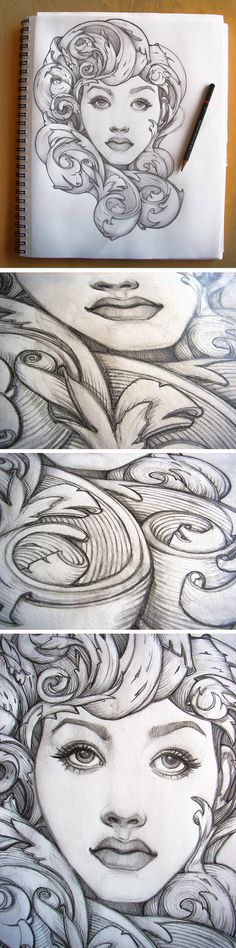 """Prudence"" by Catherine Noel. Baroque scrolls frame her face, creating a unique vignette. #illustrator #catherinenoel"