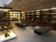 This gucci store interior is a great example of rhythm and repitition. The shelves are all equally spaced and have the same scale. It creates a flow to the room space. The yellowish lights behind the items also advances the item visually and goes well with rest of the colours used in the store interior.