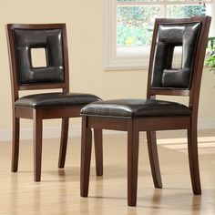 TRIBECCA HOME Dijon Dark Brown Faux Leather Side Chairs (Set of 2)
