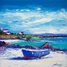 Contemporary Fine Art Print Down in the Rocks Waiting for the Ferry, Iona by the artist John Lowrie Morrison Abstract Landscape, Landscape Paintings, Acrylic Canvas, Acrylic Paintings, Southwestern Art, Selling Art, Tree Art, The Rock, Acrylics