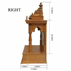 Indian Teak Wood Mandir Engraved Beautifully for Sale online - - Teak Wood Temple, Temples Temple Design For Home, Home Temple, Pooja Room Door Design, Home Room Design, House Design, Wood Bed Design, Box Design, Design Ideas, Mandir Design
