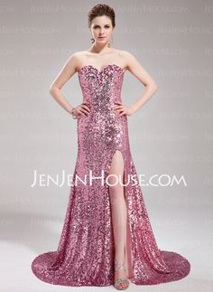 Prom Dresses - $176.99 - A-Line/Princess Sweetheart Court Train Chiffon Sequined Prom Dress With Beading (018019681) http://jenjenhouse.com/A-Line-Princess-Sweetheart-Court-Train-Chiffon-Sequined-Prom-Dress-With-Beading-018019681-g19681