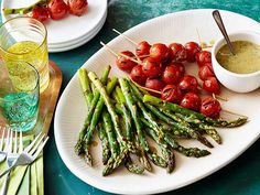 Asparagus and Tomato Skewers Recipe with Honey Mustard-Horseradish Sauce from FoodNetwork.com  Grill Recipes BBQ Recipes FOOD PORN Appetizer Side Dish  Snack Entrée I   RECIPES  HEALTHY RECIPES  HEALTHY FOOD  HEALTHY COOKING  COOKING   Paleo Diet Paleo Recipes #recipes #healthy #cooking