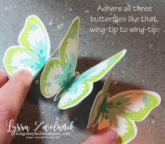 Triple Butterfly Pop Up Card tutorial Lyssa Stampin Up technique bold butterflies stamping card ideas