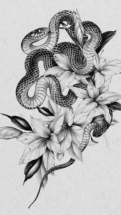 Cobra Tattoo, Snake Tattoo, Cute Drawings, Tattoo Drawings, Money Rose Tattoo, David Tattoo, Oriental Tattoo, Mandala Tattoo, Rose Tattoos