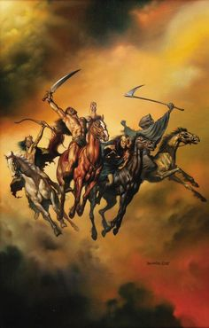 Tinha que ser o Boris Vallejo. the four horsemen of the apocalypse Boris Vallejo, Norman Rockwell, Four Horsemen Of The Apocalypse Tattoo, Les Quatre Cavaliers, Chris Riddell, Julie Bell, Bell Art, Pale Horse, Saint Esprit