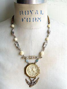 Nous Deux, We Two, Vintage Repurposed Love Birds Necklace, Paula Montgomery