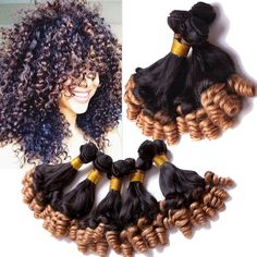 Top Grade 3Bundles Ombre Hair Extensions Funmi Curly Brazilian Human Hair Weave  #wigiss #HairExtension