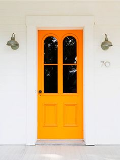 MY DREAM HOME: A COLORFUL FRONT DOOR | the obsessive imagist Front Door Colors, Orange Front Doors, Orange Door, Yellow Doors, Door Paint Colors, Bright Front Doors, Painted Front Doors, Arched Front Door, Arched Windows