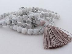 Mala - 8mm white howlite 108 beads buddhist mala - hippie necklace - wrap bracelet - yoga jewelry