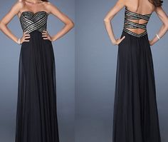 Stunning A-line backless Long prom dresses, Black Chiffon Backless A-line Beading Prom dresses, Discount New Formal Evening dresses, 9173 on Etsy, $135.00
