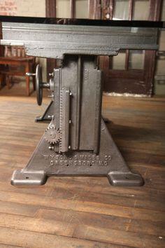 Vintage Industrial Adjustable Table/Desk Base image 5