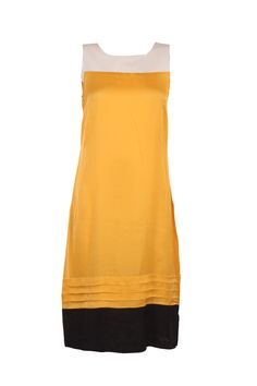 Yellow Solid Kurta In Satin Mix; Pleating At The Bottom; U Neck With Sequin Detailing On The Yoke; Sleeveless; 44 Inches In Length #Wishful #Clothing #Fashion #Style #Kurta #Wear #Colors #Apparel #Semiformal #Print #Casuals #W for #Woman