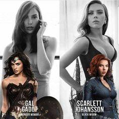 Pick a side: Gal Gadot as Wonder Woman or Scarlett Johansson as Black Widow. Marvel Girls, Comics Girls, Marvel Dc Comics, Marvel Heroes, Harley Queen, Celebridades Fashion, Black Widow Scarlett, Gal Gadot Wonder Woman, Black Widow Marvel