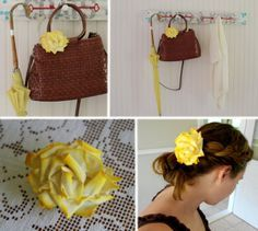 HOW-TO: fabric rose made from old t-shirt and food color... Aprons & Ambition: T-Shirt Flower Tutorial