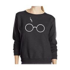 Harry Potter Eyeglasses Print Round Neck Long Sleeve Casual Sweatshirt (625 MXN) ❤ liked on Polyvore featuring tops, hoodies, sweatshirts, round neck top, print top, print sweatshirt, long sweatshirt and long sleeve tops