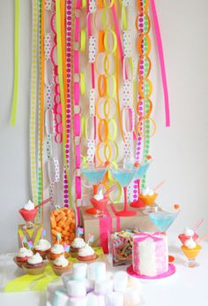Neon Dessert Table Photography and Styling by http://www.stylemepretty.com/living/