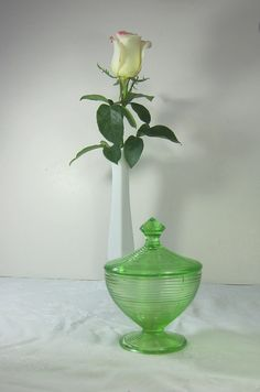 Vintage Powder Jar Green Depression Glass  by LavenderGardenCottag