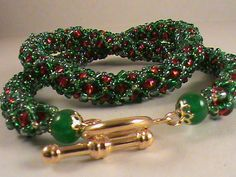 Red green beadwork seed bead necklace by EyeCandybyJBWeb on Etsy, $20.00