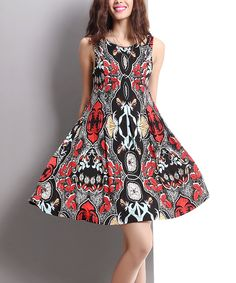 Black & Red Abstract Sleeveless A-Line Dress by Reborn Collection #zulily #zulilyfinds