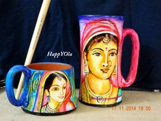 Most exclusive work . Hand painted terracotta mugs in various sizes. These are also eco-friendly home decor products