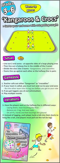 Great PE warm-up sports game, great way to get your elementary kids started in their lessons. Check out all 8 here!