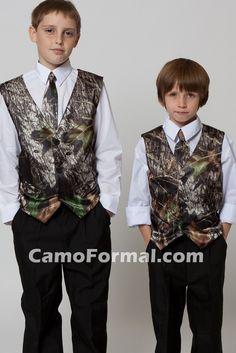 Boys Camo Vest And Ties