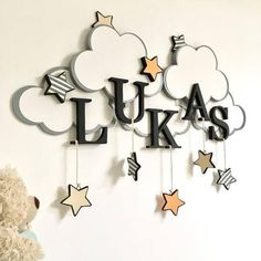 Baby Bedroom Clouds Mobiles 52 Ideas For 2019 Baby Bedroom, Baby Boy Rooms, Baby Room Decor, Kids Bedroom, Nursery Decor, Baby Crafts, Diy And Crafts, Wooden Letters, Trendy Baby