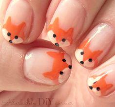 french fox nail art // adorkable DIY corner Nail Design, Nail Art, Nail Salon, Irvine, Newport Beach