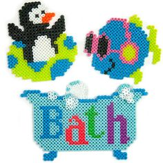 <p>These colorful penguin and fish playmates love playing in the bathtub with all the bubbles. This design you create with Perler beads will make any bathtime fun!</p>