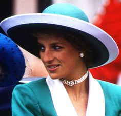 Diana, Princess of Wales watching a 1987 procession of the British and Commonwealth armies.