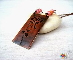 MagikeMani: Rose necklace: copper, etching, glass