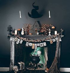 "𝓗𝓸𝓶𝓮 𝓢𝔀𝓮𝓮𝓽 𝓗𝓮𝓵𝓵 🥀 on Instagram: ""Spooky fireplace goals!! 💀👻 from @the_pumpkin__queen What's your favourite part of the house to decorate for Halloween??"""