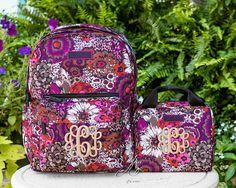 Something You - Rosewood Gift Set of 2 - Monogrammed Vera Bradley GRANDE Backpack and Lunch Cooler, $132.00 (http://www.somethingyou.com/new/rosewood-gift-set-of-2-monogrammed-vera-bradley-grande-backpack-and-lunch-cooler/)