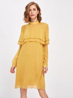 SheIn - SheIn Mock Neck Layered Flounce Trim Dress - AdoreWe.com