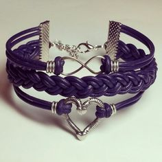 Purple leather infinity and heart bracelet.  Made by Dizzy Bees. Find Dizzy Bees on Facebook!