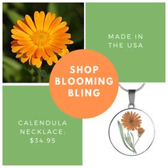 Explore our custom jewelry to create your own unique, personalized look at Blooming Bling! Our gorgeous selection of Calendula flower jewelry is fresh from the garden