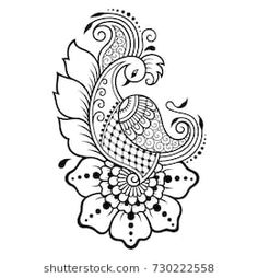 Tattoo Designs Drawings Templates Embroidery Patterns 25 New Ideas Henna Drawings, Tattoo Design Drawings, Henna Tattoo Designs, Bird Drawings, Drawing Birds, Drawing Flowers, Tattoo Ideas, Bird Embroidery, Embroidery Motifs