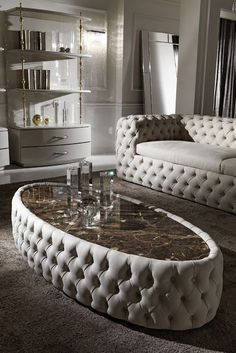 This gorgeous hand-crafted oval table offers a superbly glamorous design, seductively modern and elegant. Created by Italian master craftsmen this design is outstanding in its attention to detail. Featuring fabulous button upholstery to the main structure Sofa Furniture, Luxury Furniture, Furniture Design, Wooden Furniture, Antique Furniture, Furniture Buyers, Repurposed Furniture, Furniture Stores, Furniture Ideas