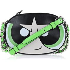 Moschino BAG POWERPUFF GIRL (43960 RSD) ❤ liked on Polyvore featuring bags, handbags, green, leather shoulder bag, genuine leather purse, green purse, shoulder bag purse and shoulder bag
