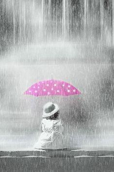 Color splash of pink umbrella