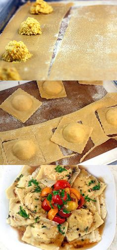 Homemade Creamy Corn Ravioli plus a recipe for  Warm Brown Basil Butter Cherry Tomato Compote. Melts in your mouth!