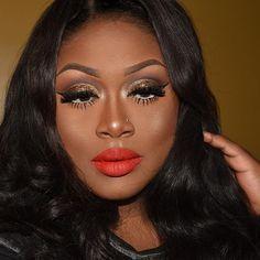 ❤️ Red Lipstick Looks, Russian Red, Ruby Woo, Makeup Inspiration, Makeup Ideas, Red Lipsticks, Dark Skin, Makeup Looks, Halloween Face Makeup