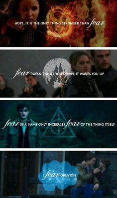 The Hunger Games, Divergent, Harry Potter and The Fault in Our Stars ( Fandom's Unite) The Hunger Games, Funny Hunger Games, Film X, Film Serie, Percy Jackson, Movie Quotes, Book Quotes, Fear Quotes, Tris Y Tobias