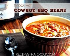 Crock pot Cowboy BBQ Beans – Fantastic as a soup or savory side dish. Perfect fo… Crock pot Cowboy BBQ Beans – Fantastic as a soup or savory side dish. Perfect for cold fall and winter days. Crock Pot Food, Crockpot Dishes, Crock Pot Slow Cooker, Slow Cooker Recipes, Crockpot Recipes, Roast Recipes, Beef Dishes, Chicken Recipes, Bean Recipes