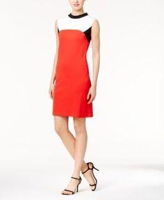 Nine West Colorblocked Mock-Neck Dress - Red