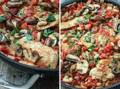 Tuscan Chicken Skillet- Really good. Only change I made: chicken thighs instead of chicken tenders.