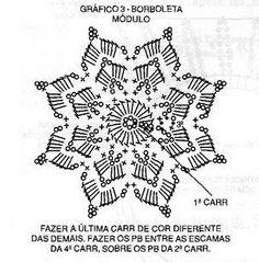 Roberta Crochet and Cia: Purse Butterfly Crochet Snowflake Pattern, Crochet Butterfly, Christmas Crochet Patterns, Crochet Snowflakes, Crochet Mandala, Doily Patterns, Crochet Motif, Crochet Doilies, Crochet Flowers